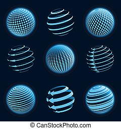 Blaue Planeten-Ikonen.