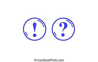 Blaue Runden mit Frage- und Ausrufezeichen.
