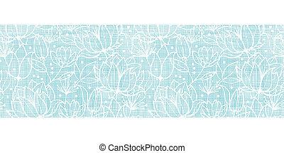 Blaue Spitzenblüten Textil horizontale Grenze nahtlos Hintergrund.