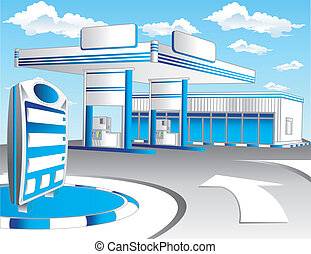 Blaue Tankstation