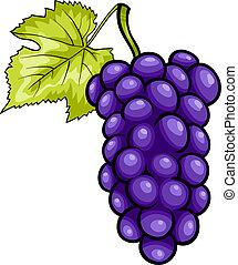 Blaue Trauben Frucht-Cartoon Illustration.