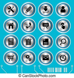 Blaue Website Ikonen aufgestellt