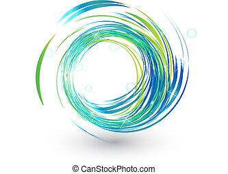 Blaue Wellen mit hellem Licht Logo.
