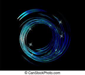 Blaue Wellen mit Sternenhintergrund.