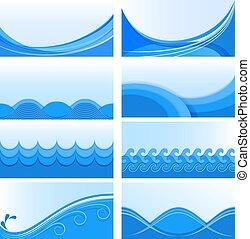 Blaue Wellen-Vektor-Hintergründe.