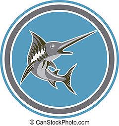 blauer fisch, marlin, springende , retro, kreis