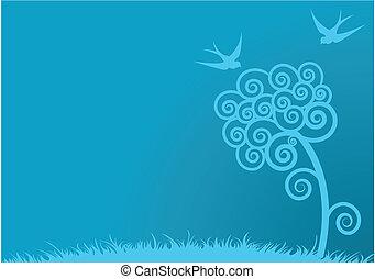Blauer Frühlings Hintergrund
