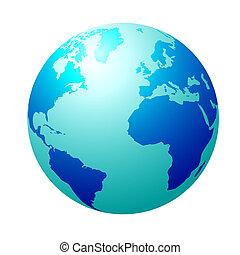 Blauer Globus.