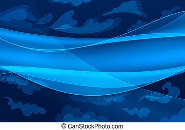 Blauer Hintergrund - abstrakte Wellen und stilisierte Wolken
