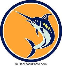 Blauer Marlinfisch, der im Retrokreis springt.
