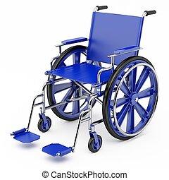 Blauer Rollstuhl
