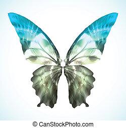 Blauer Schmetterling isoliert. Vector