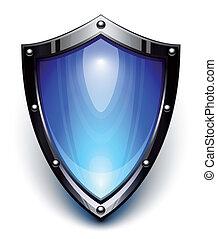 Blauer Sicherheitsschild