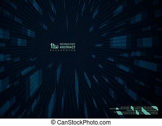 blaues, abstrakt, perspektive, hintergrund, technologie, geometric., zukunftsidee