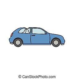 blaues auto, schrott, vektor, metall, kaputte , abbildung