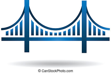blaues, brücke, vektor, logo
