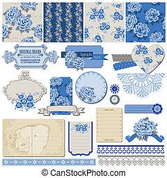 blaues, elemente, weinlese, -, vektor, design, sammelalbum, blumen