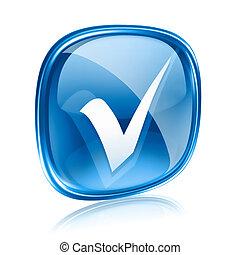 blaues, freigestellt, hintergrund., glas, weißes, kontrollieren, ikone