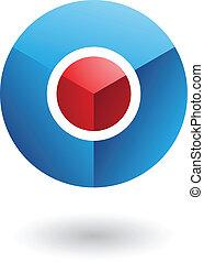 blaues, kern, abstrakt, kreis, rotes , ikone