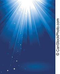 Blaues Licht platzte vor Sternen