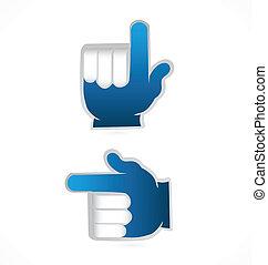 blaues, punkt, auf, vektor, hände, logo