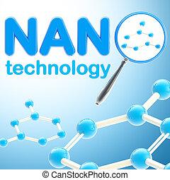 blaues, technologie, glänzend, hintergrund, nano