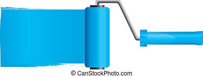 blaues, vektor, abbildung, farbe, teil, bürste, farbe, 2, rolle
