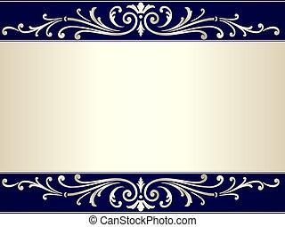 blaues, weinlese, rolle, beiger hintergrund, silber