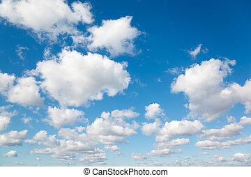 blaues, wolkenhimmel, sky., flaumig, clouds., hintergrund, weißes
