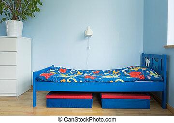 Blaues Zimmer eines Jungen.
