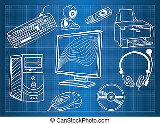 blaupause, peripher, -, vorrichtungen & hilfsmittel, hardware, edv