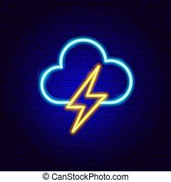 blitz, neon zeichen, wolke