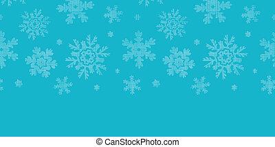 Blue lace snowflakes textile horizontale Grenze nahtlose Muster Hintergrund.