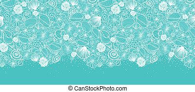 Blue seashells line art horizontal nahtlose Mustergrenze.
