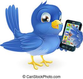 Bluebird mit Handy