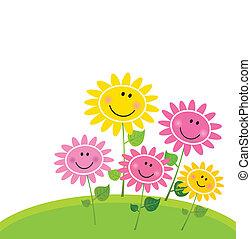blume, glücklich, fruehjahr, kleingarten