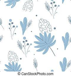 blumen-, beflecken, florals, seamless, modern, weißes, muster, farben, linie, pattern., muster, blaues