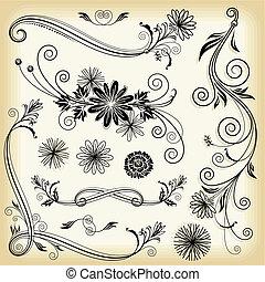 blumen-, dekorative elemente