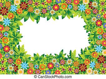 Blumen-Gartenrahmenvektor.