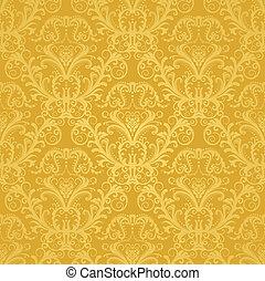 blumen-, goldenes, tapete, luxus