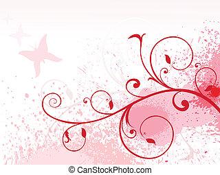 blumen-, grunge, rosa, abstrakt