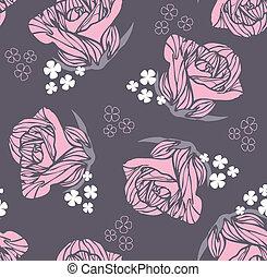 blumen-, rose, retro, seamless, muster