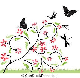 Blumen und Schmetterlinge.
