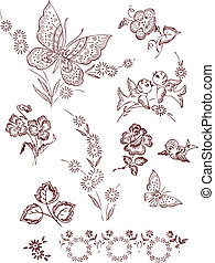 Blumen-Vogel Schmetterlingselemente.