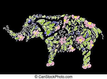 Blumendesigner Elefant