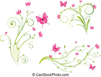 Blumenelemente und Schmetterlinge.