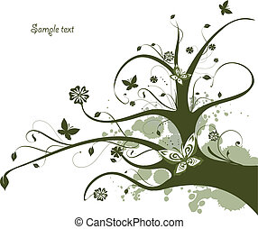 Blumengrünes Design mit fließendem Baum