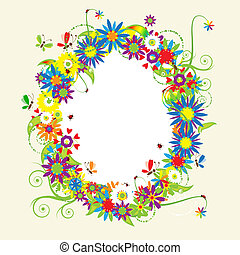 Blumenrahmen, Sommer-Illustration