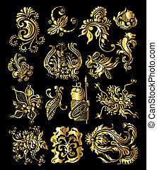 Blumenschmiere von klassischen, goldenen Dekorationselementen