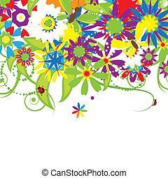 Blumenstrauß, Sommer-Illustration